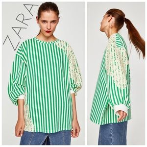 NWT ZARA green & cream lace oversized tunic top M